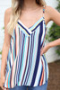 Model wearing Multi Color Striped V-Neck Tank Top Detail View