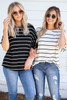 White - and Black Striped Ruffle Sleeve Tops