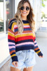 Multi - Striped Open Knit Sweater