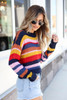 Model wearing Multi-Color Striped Open Knit Sweater Side View
