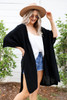 Black - Oversized Slit Cardigan Side View