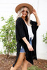 Model wearing Black Oversized Slit Cardigan Side View