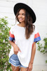 White - Blue and Rust Color Block Sleeve Tee Front View