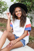White - Blue and Rust Color Block Sleeve Tee