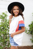 Model wearing White, Blue and Rust Color Block Sleeve Tee Side View