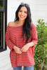 Rust - Oversized Striped Top