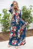 Model wearing Teal Long Sleeve Floral Maxi Dress