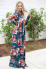 Teal - Long Sleeve Floral Maxi Dress Side View