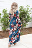 Model wearing Teal Long Sleeve Floral Maxi Dress Back View