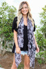 Model wearing Black and Grey Tie-Dye Lightweight Scarf
