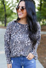 Leopard - Print Knit Top Tucked In