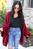 Burgundy - Oversized Ruffled Cardigan