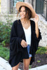 Black - Oversized Ruffled Cardigan