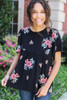 Black - Floral Embroidered Babydoll Top