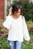 White - Balloon Sleeve Waffle Knit Top