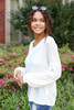 White - Balloon Sleeve Waffle Knit Top Side View