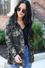 Model wearing Camo Cargo Jacket Front View