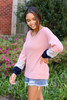 Blush - Color Block Ballon Sleeve Top Side View