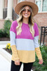Multi - Ribbed Color Block Knit Top