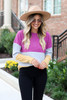 Model wearing Multi Color Ribbed Color Block Knit Top