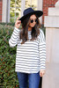 Model wearing White and Black Striped Basic Tee