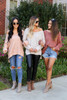 Models wearing Grey, Marsala and Blush Oversized Knit Sweaters