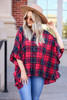 Model wearing Red Oversized Plaid Ruffle Sleeve Top Front View