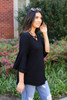 Black - Criss Cross Ruffle Sleeve Top Side View
