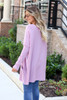 Model wearing Lilac Oversized Ribbed Sweater Tunic Back View