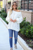 Ivory - Cable Knit Chenille Sweater Full View
