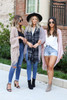 Models wearing Taupe, Grey, and Pink Chenille Fringe Cardigans