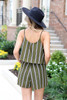 Model wearing Olive Striped Jumpsuit Back View