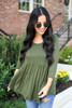 Olive - 3/4 Sleeve Babydoll Top