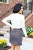 Charcoal - Exposed Seam Mini Skirt Back View