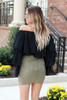 Model wearing Olive Faux Suede Wrap Skirt Back View