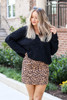 Mocha - Faux Suede Leopard Mini Skirt