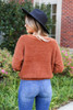 Model wearing Rust Fuzzy Knit Sweater Back View