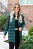Model wearing Green and Black Longline Flannel Front View
