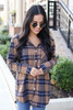 Model wearing Navy + Mustard Oversized Plaid Flannel Front View