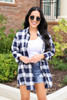 Model wearing Blue and White Plaid Oversized Flannel