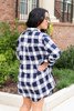 Navy - and White Plaid Oversized Flannel Back View