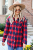 Model wearing Red Plaid Button Up Flannel Buttoned Up