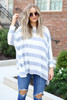 Ivory - Model wearing  Lyla Striped Oversized Knit Top-front view