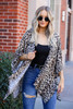 Taupe - Lightweight Leopard Print Knit Kimono from Dress Up