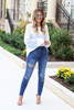 Model wearing Medium Wash Distressed High-Rise Jeans Full View