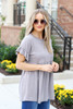 Model wearing Taupe Ruffle Sleeve Babydoll Top Side View