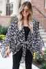 Grey - Tie-Front Sheer Leopard Print Kimono From Dress Up