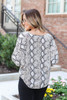 Model wearing Snake Tie-Front Kimono Sleeve Top from Dress Up Back View