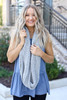 Grey - Open Knit Infinity Scarf on Dress Up Model
