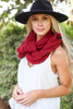 Burgundy - Open Knit Infinity Scarf on Dress Up Model